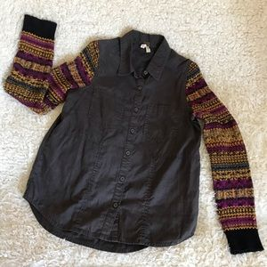 Free people sweater sleeves cotton shirt - small